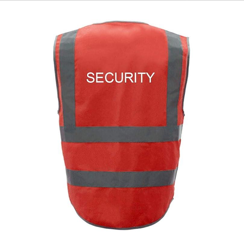 に渡って調子期待してTOPTIE 50 PCSセキュリティ8ポケットジッパーフロント高視認性反射安全ベスト卸売 - レッド - L