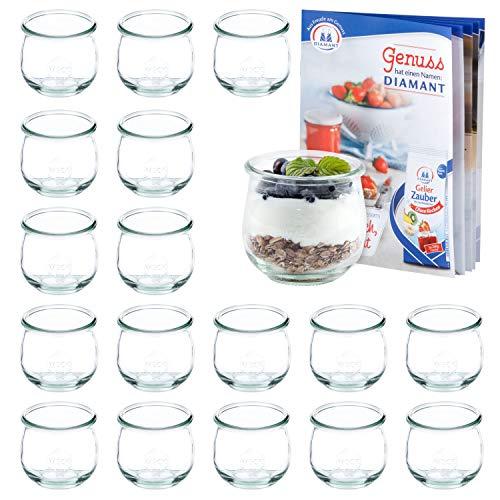 MamboCat set van 18 weckflesjes 370 ml + receptenboekje | jamppotten helder | Ø 9 cm | levensmiddelen inkoken, bewaren en bewaren | weck-accessoires