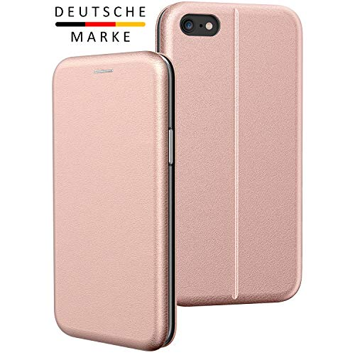 BYONDCASE iPhone 6s Plus Hülle Roségold, iPhone 6 Plus Handyhülle [Deluxe Leder Flip-Case Klapphülle] Fullbody 360 Grad Rundumschutz Ultra Slim kompatibel mit dem iPhone 6 Plus Case