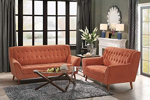 """Homelegance Erath 81"""" Fabric Sofa, Orange"""