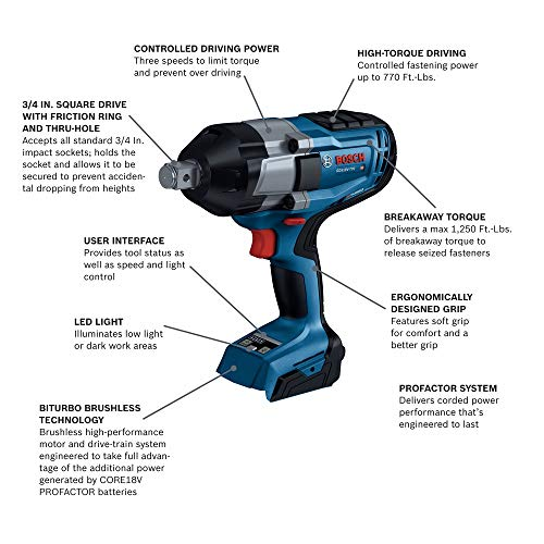 Bosch PROFACTOR GDS18V-770N 18V Cordless 3/4 In. Impact Wrench with Friction Ring and Thru-Hole, Battery Not Included