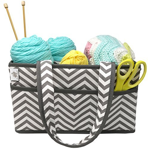 Craft Caddy, by Little Grey Rabbit, Large Design, Sturdy Construction, Gray Chevron