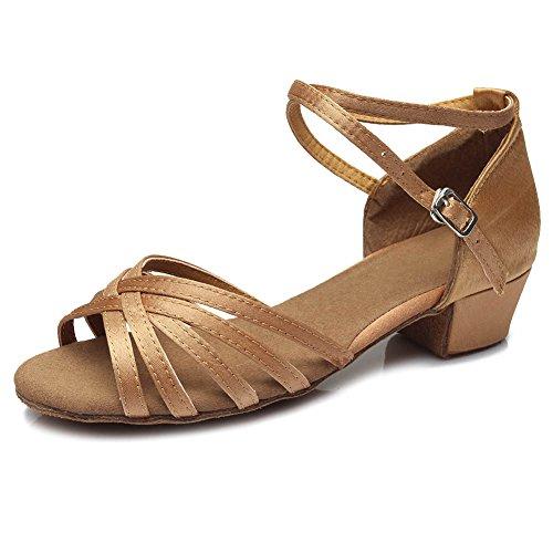 HIPPOSEUS Zapatos de Baile para niña Salón de Baile Latino Práctica de Baile Zapatos de tacón bajo 3.5CM,ES202,Beige,EU 35