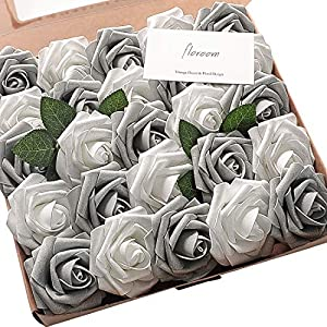 Floroom Artificial Flowers 25pcs Real Looking Shimmer Silver Grey Fake Roses with Stems for DIY Christmas Ornaments Wedding Party Tables Centerpieces Floral Arrangements Home Decor