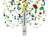 CLICSON® Cannone spara coriandoli 5x5x40cm di Colore Bianco per Matrimonio, Feste. (Multicolor)