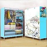 Armario de Tela Sencilla Acero Reforzado Plegable Moderno Simple Almacenamiento de la Unidad de Dormitorio (Color : 1)