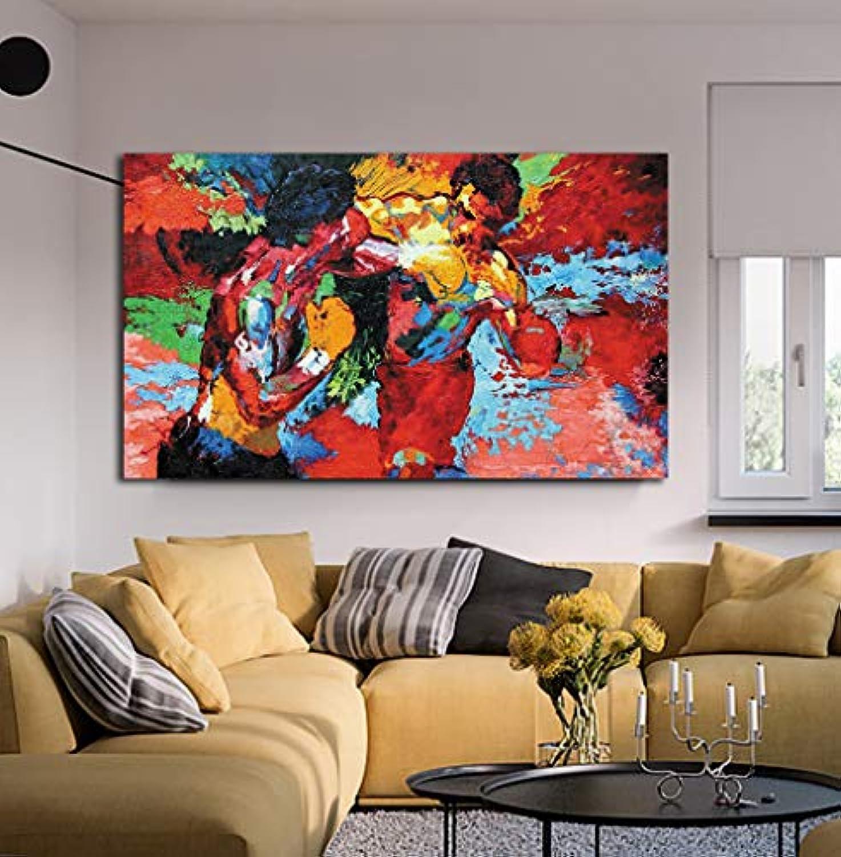 Modernes Filmposter, Motiv  Boxen, Sport, bunt, HD-Druck, Wandkunst für Esszimmer, Rocky vs Apollo Bild, Dekoration, fertig zum Aufhngen, Rocky Vs Apollo, 24x36inch(60x90cm)