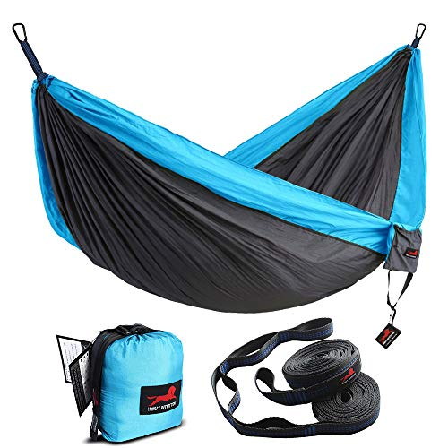 HONEST OUTFITTERS Double Camping Hammock with Hammock Tree Straps,Portable Parachute Nylon Hammock for Backpacking Travel 118L x 78W Inches Grey Blue