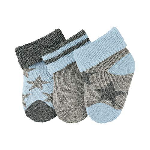 Sterntaler Unisex Baby Socken Erstlingssöck. Sterne, 3er-Pack Silber Mel. 542), Neugeboren (Herstellergröße: 0)