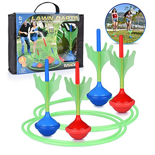 Lawn Darts Game – Glow in The Dark, Outdoor Backyard Toy for Kids & Adults | Fun for The Entire Family | Work On Your Aim & Accuracy While Having A Blast