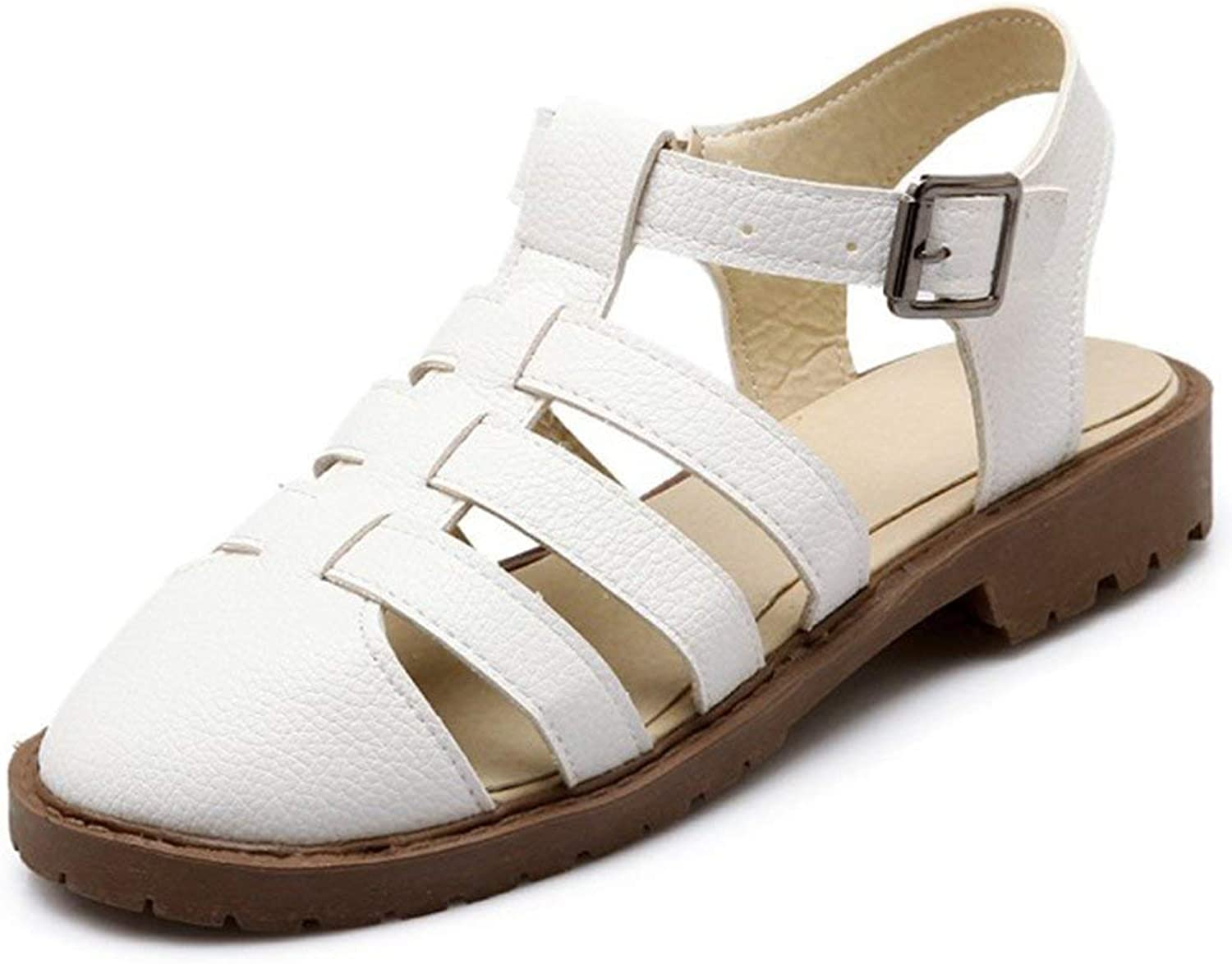 Wallhewb Women's Trendy Buckle T-Strap Cut Out Round Closed Toe Low Heel Gladiator Sandals Rubber Sole Joker Breathable Antiskid Academic Style Leather Convenient Dreass White 8 M US Sandals