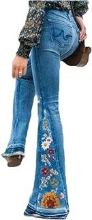 Women Embroidery Flare Jeans Wide Leg Denim Jeans Slim Pants
