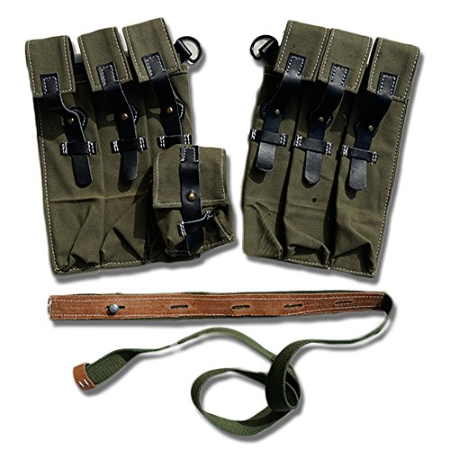 ZWJPW-WW2 Amy P38/P40 Magazine Pouch Ammo Pouch Leather Aand Canvas (canvas)