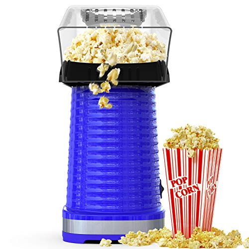 Popcorn Maker Machine, Hot Air Popcorn Popper for Home, No Oil, Healthy Snack for Kids Adults, Removable Measuring Cup, Perfect for Party Birthday Gift, Blue-1200W