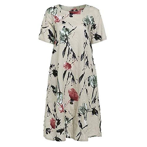 N\P Vestido de verano de las mujeres de manga corta