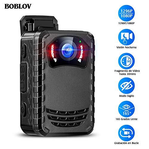 BOBLOV N9 Mini-Körperkamera für Polizei, Mini-Spionagekamera, tragbar, Nachtsicht, Full HD 1296P für Anwendung des Gesetzes