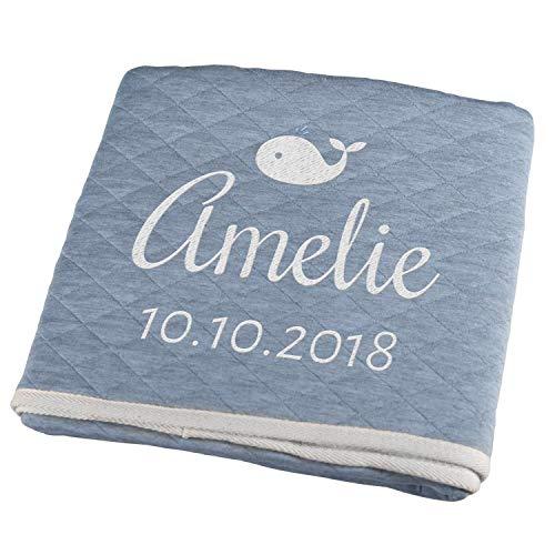 Personello® Decke für Baby mit Namen und Datum bestickt (Wal), blau, Premium, Bio Baumwolle, Baby Geschenke Junge