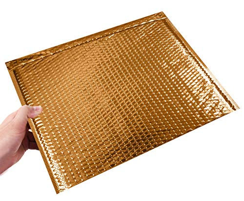 ABC 10 Pack Gold Bubble mailers 13 x 11. Folder size Metallic padded envelopes 13x11. Cushion envelopes Peel and Seal. Large padded mailing envelopes for shipping, packing, packaging. Wholesale Photo #4