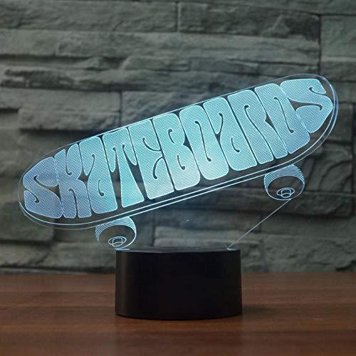 Pbbzl Led-tafellamp voor skateboards, 3D-leds, nachtlampje, 7 kleuren, voor slaapkamer, decoratie voor het huis, skateboarden, rekken