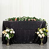 Black Sequin Tablecloth 60x102-Inch Black Linen Tablecloth Around The World Party Decorations