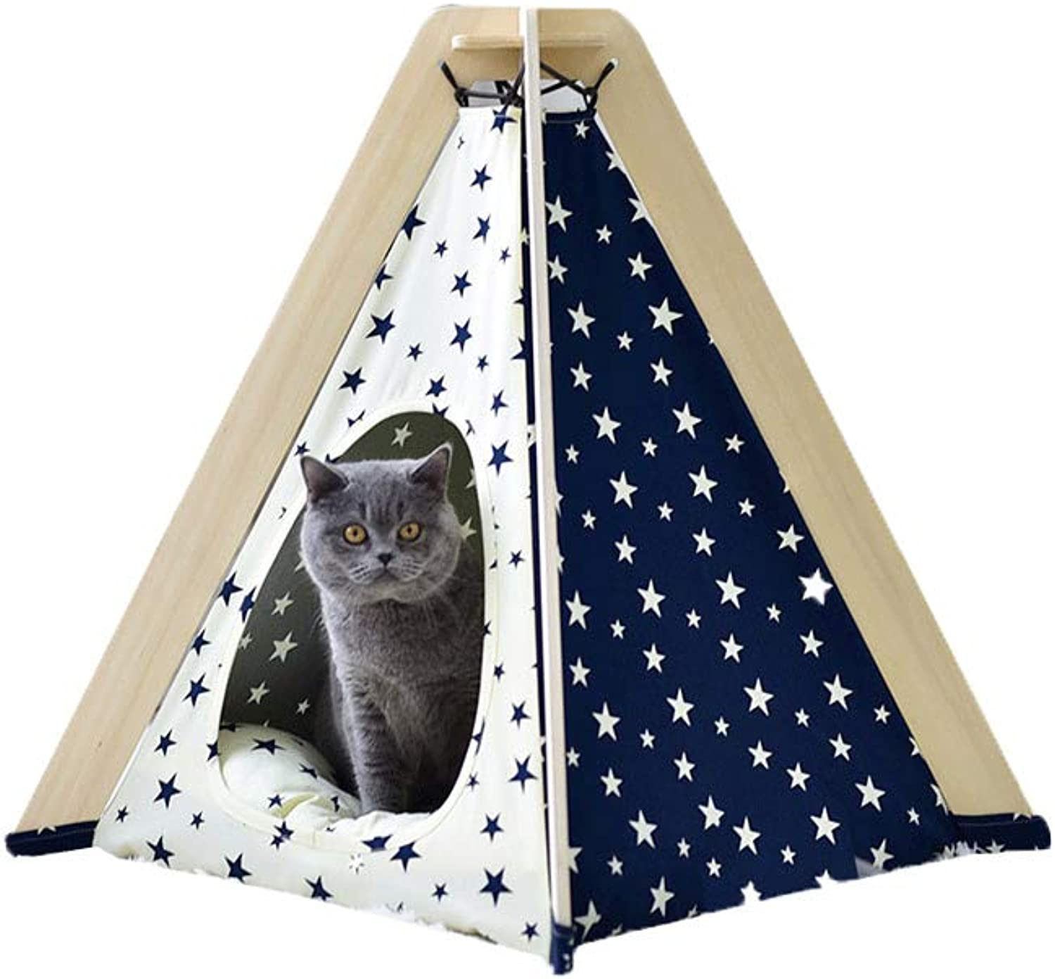 Pet Travel Tent, SemiEnclosed Cat Litter FourPointed Spire Washable Cotton Canvas Firm Pine Bracket It Can Be Used Outdoors and Home,Stars