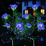 Luces Solares LED flores, XVZ luces Solares LED exterior jardin flores, impermeable lámpara solar, para jardín, césped, terraza, camino (azul 2 paquetes)