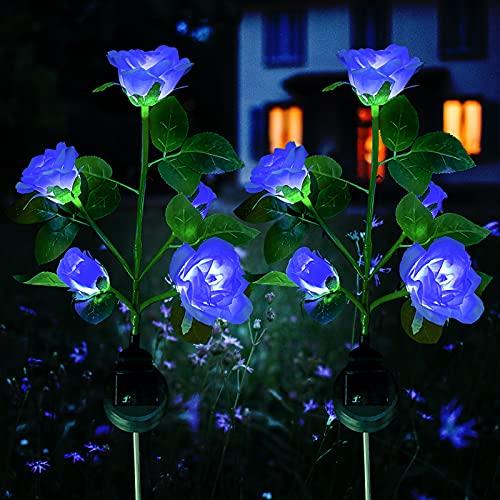 Solar Blumen Garten Lampen, XVZ Rose Blume Solarleuchte mit größerer Blume und Breiterem Wasserdichte Solarpanel, Dekoration Lichter für den Garten Rasen Terrasse Feld Weg(2 Stück Blau Rose)
