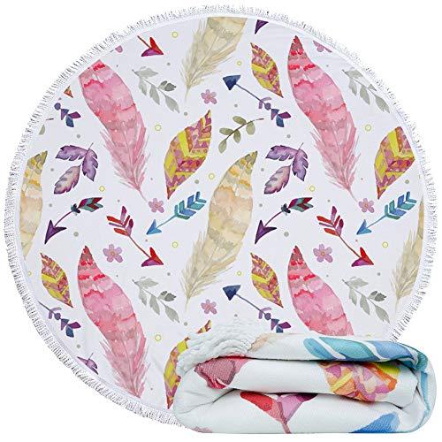 Feelingjoy Round Beach Towel Blanket Unicorn Llama Turtle Pineapples Microfiber Quick Dry Extra Large 60 Inches Roundie Towel Mat for Kids Women Girls Men (Multi Feather)