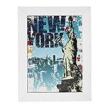 Quadro New York con cornice con argento Miro Silver, 70x70 cm Multicolore
