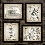 no brand Élément Chimique Affiches Vintage Impression Science Wall Art Photos Tableau périodique Chimie Art Toile Peinture Laboratoire décor 40x50 cm (15,7'x19,7) x4sans Cadre