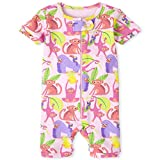 The Children's Place Baby and Toddler Girls Monkey Snug Fit Cotton Cropped One Piece Pajamas, Pink Admirer, 3-6 Months