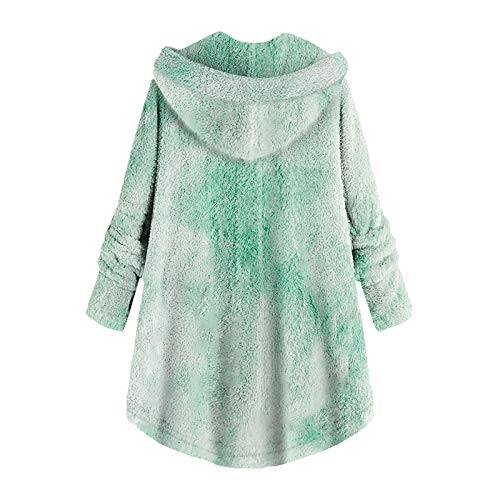 HFStorry Women Plush Warm Coats Winter Tie-Dyed Print Long Sleeve Keep Warm Stylish Fuzzy Fleece Pullover Outwear Hooded Green