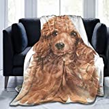 Fredeulva Blanket Watercolour Cute Poodle Dog Flannel Fleece Throw Blankets for Baby Kids Men Women,Soft Warm Blankets Queen Size and Throws for Couch Bed Travel Sofa 50'X40'