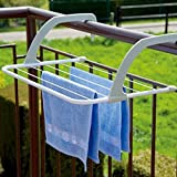 Package Included : 1 Piece Balcony Cloths Hanger Stand WIDELY USE : Bathroom, dormitory, windowsill, guardrail, corridor, balcony etc.Used to dryer your socks, towels, scarf, underwear or other items. RUST-PROOF & HEAT RESISTANT : The hook-on drying ...
