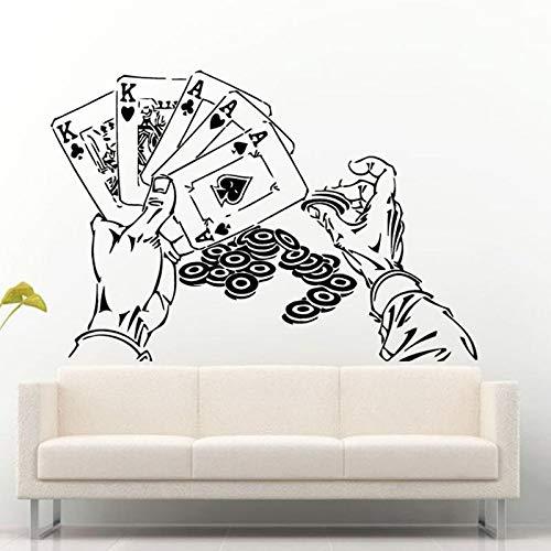 Blrpbc Pegatinas de Pared Adhesivos Pared Vinilo Mano Juego de póquer fichas Juego de Cartas decoración de la habitación del hogar decoración de la Pared del Casino Mural artístico 122x84cm