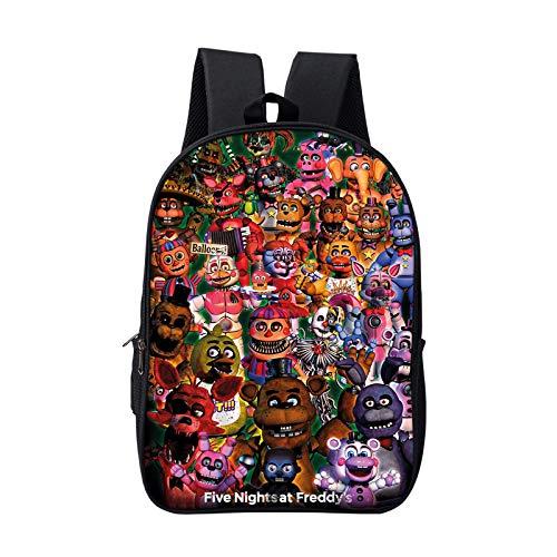 Zhongaomei Five Nights At Freddy'S Kids Backpack Boys and Girls Game bookbag 3D Printed bag C