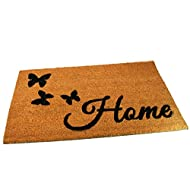 Black Ginger Large, Thick, Decorative, Patterned Coir Door Mats with Nature Designs (Butterfly Home)