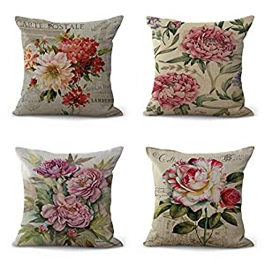 WSKBAOZHEN 4 Pack Throw Pillow Case, Funda De Cojín De Algodón Y Lino Plaza Almohadón Funda De Cojín Vintage Flor Plantas Decorativas Almohada Throw Cubre A La Decoración del Hogar 45 X 45 Cm.