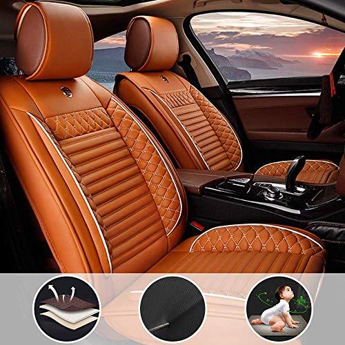 8X-SPEED Auto 2+3 Coprisedili per Jeep Compass Set Completo Pelle Copri-Sedile Compatibili Airbag,Sedili Posteriori Sdoppiabili,Indossare Impermeabile,Beige