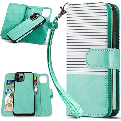CASEOWL Wallet Case Compatible for iPhone 12 Pro Max, Case WalletMagnetic Detachable2 in 1 Folio Leatherwith 9 Card Slots,Hand StrapCompatible with iPhone 12 Pro Max 6.7''2020(White&Mint Green)