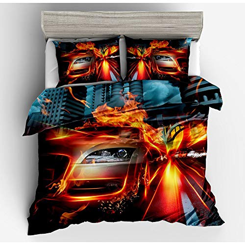 CBA BING Fiery Burning Racing Car 3D Printed Bedding Quilt Duvet Cover,Soft Microfiber Quilt Cover Single,Quilt Duvet Cover Set for Kids Child Boys,A,220×240cm
