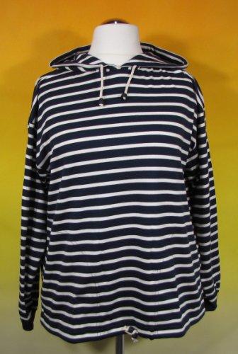 modAS Bretonisches Damen Kapuzenshirt Streifen Hemd blau/weiß gestreift 2900_05 Größe 44 (Damen)