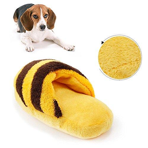 angju Zapatillas de peluche con diseño de rayas, juguete chirriante, juguete para masticar, juguete de sonido, suministros para perros y resistencia a cometas