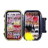 Surtido de cebo hechos a mano para pesca con mosca, moscas artificiales para pesca de trucha y trucha alpina, con caja impermeable, Set B 120 Stück