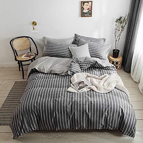 YuanBo Wo Juego de 4 fundas de edredón de algodón a rayas con impresión activa y teñido para dormitorio, 2 fundas de almohada