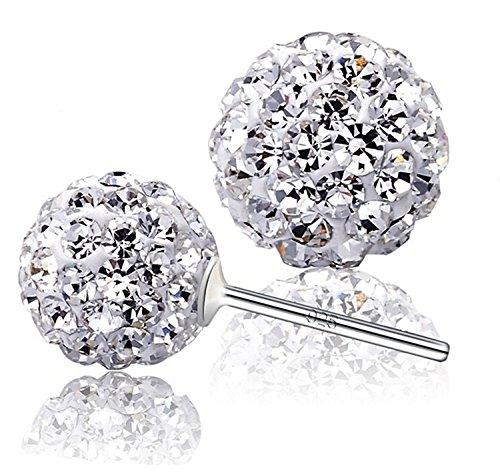 Orecchini a perno, a sfera, in argento Sterling 925, decorati con cristalli bianchi Swarovski, 8 mm