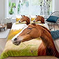 3D プリント 羽毛布団カバーセット,茶色の馬,ティーンズ 男の子 女の子 ツインサイズ 寝室 装飾 1ピース 寝具セット 枕カバー2枚付き,135Cmx200Cm