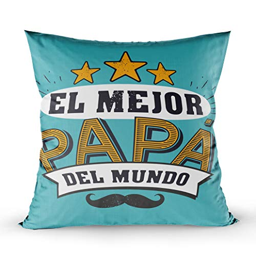 GROOTEY Outdoor Pillows Covers, Square Pillowcase with Zip Couch Sofa Décor The Best Dad in The World Dad Spanish Language Happy Fathers Day Padre Quotes Card Label Badge 18X18Inch Throw Cushion
