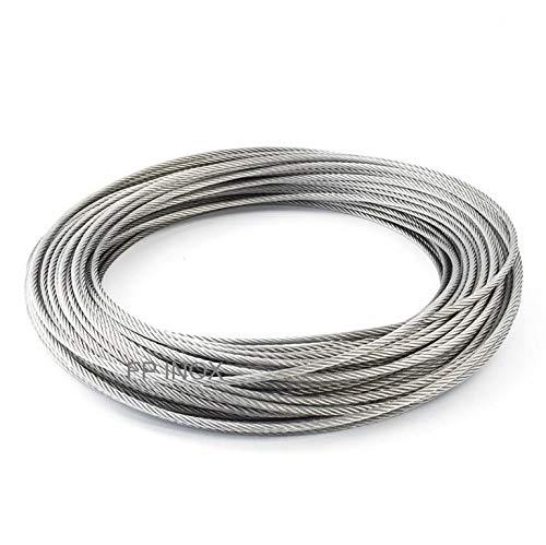 Câble En inox A4-316 (spécial pour l'extérieur) 7x7 torons fils, Tout diamètre et longueurs à choisir, bricolage, garde corps, jardin, terrasse (Ø 4mm, Couronne 10 mètres)