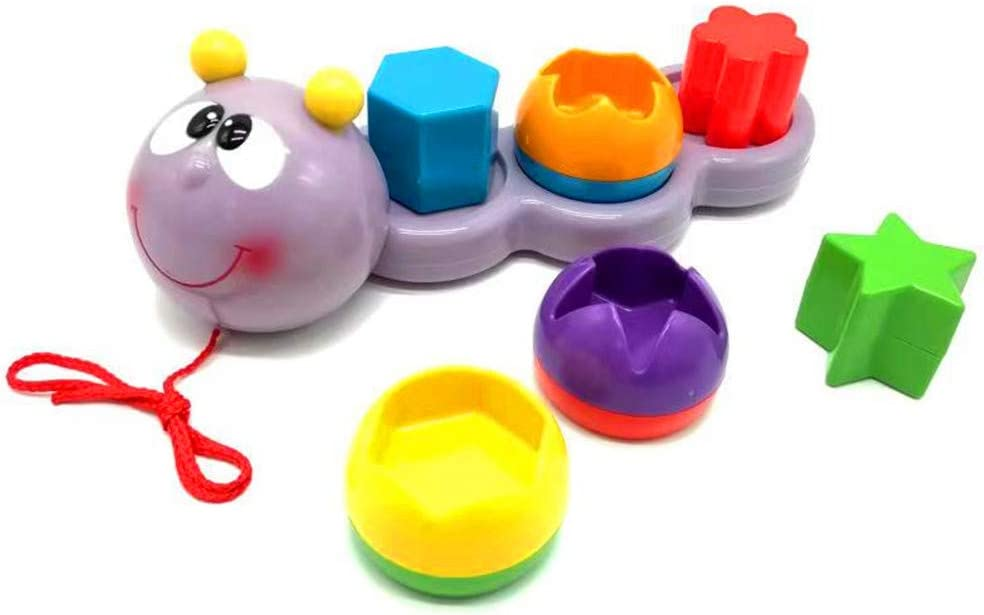 IECCP The Cartoon Caterpillar Drag Toy Consists of 6 Geometric Shape modules...a Toy Suitable for Children Aged 1 and Above